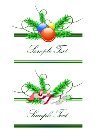 Vector horizontal borders from angel and christmas balls Vector