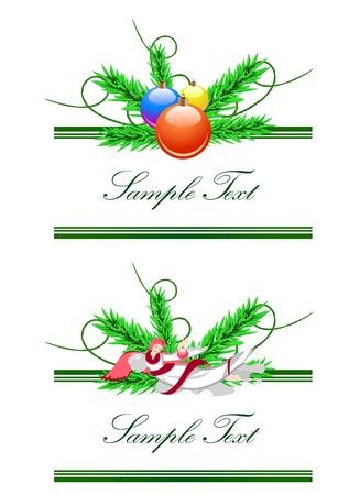 Vector horizontal borders from angel and christmas balls Stock Vector - 11176948
