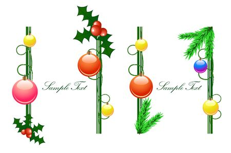 Vector vertical frames from christmas balls and branches Vector