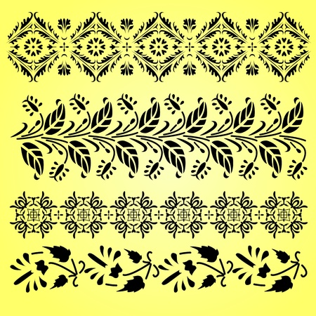 Vector Indian ornaments on yellow Vector