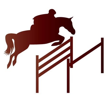 Vector of jockey with jumping horse