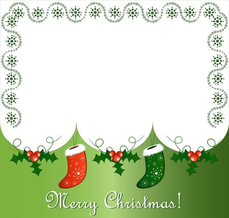 Vector of postcard with gift socks and snow Vector