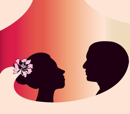 Vector of silhouettes bride and groom with wedding veil Stock Vector - 11404195