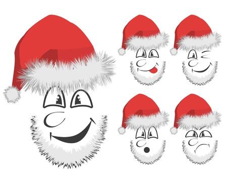 chuckle: Vector of 5 fun Santas faces