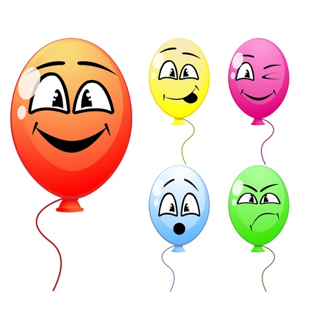 Vector of balloons with funny faces