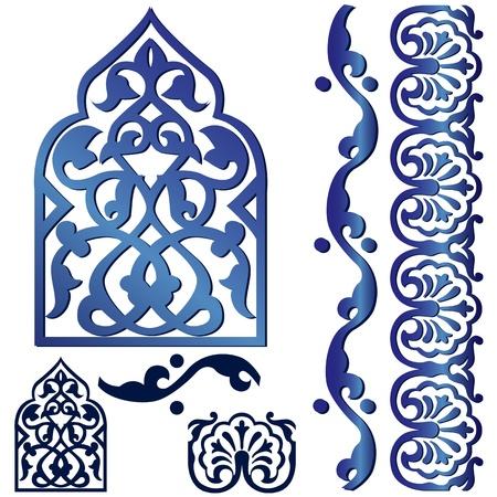 arabesco: Vector de los elementos de dise�o isl�mico en blanco Vectores