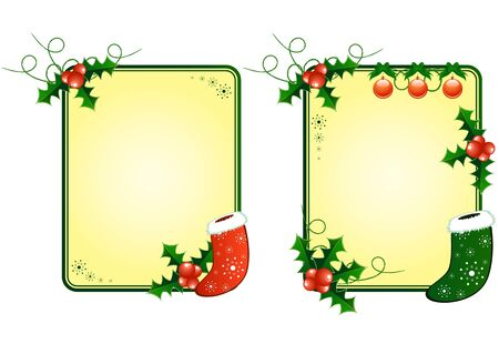 Vector Christmas cards with european holly and sock Stock Vector - 11673950