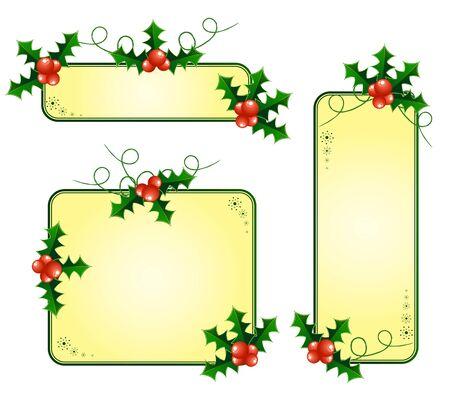 Vector Christmas cards with european holly Stock Vector - 11673952