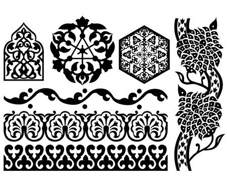 ホワイト上のイスラム教の設計要素のベクトル