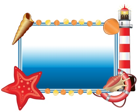 Vector of horizontal sea postcard with lighthouse, shells and Life buoy Illustration
