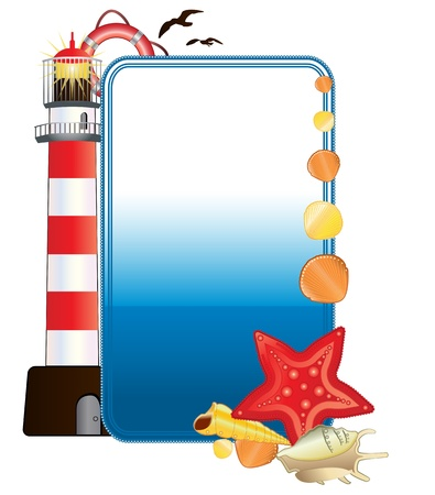 cruise cartoon: Vector of vertical sea postcard with lighthouse, shells and Life buoy Illustration