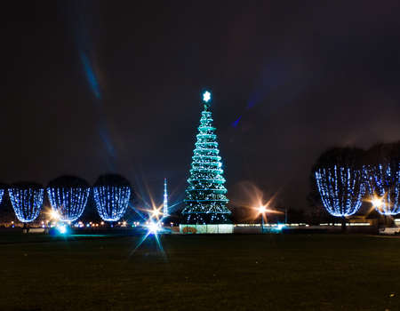 Christmas tree in square in St.-Petersburg, Russia photo
