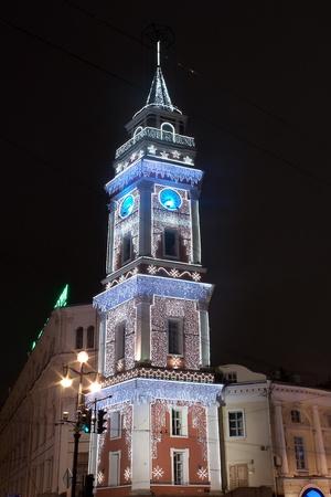 duma: Duma Tower, Nevsky street, St. Petersburg, Russia by night