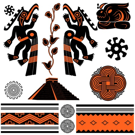 古代アメリカの装飾品、ピラミッドのベクトル  イラスト・ベクター素材