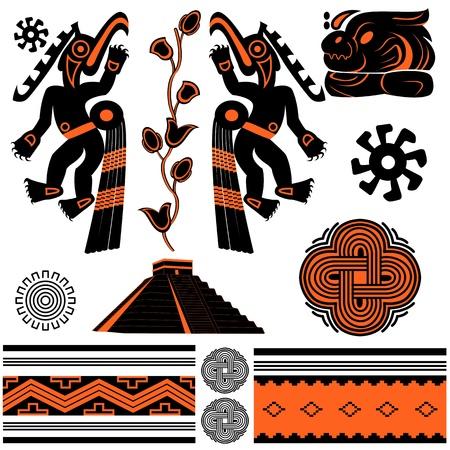 Vector of ancient american ornaments and pyramid Illusztráció