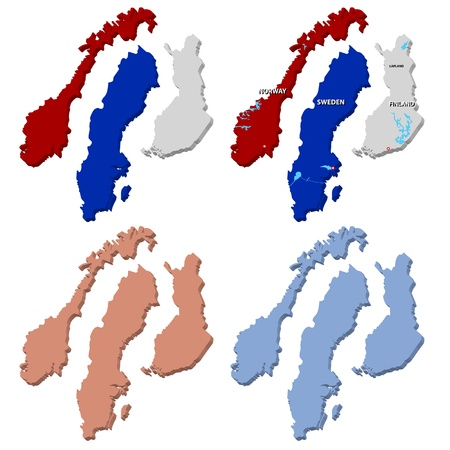 Three vector maps of Norway, Finland and Sweden in 3D Stock Photo - 11674155