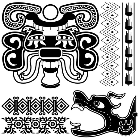 of ancient american patterns with ornaments and gods Vector