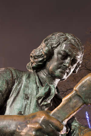 peter: Part of bronze statue Peter the Great carpenter at night, St. Petersburg, Russia Stock Photo