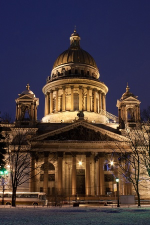 night vertical view of St. Isaacs Cathedral in Saint Petersburg, Russia photo