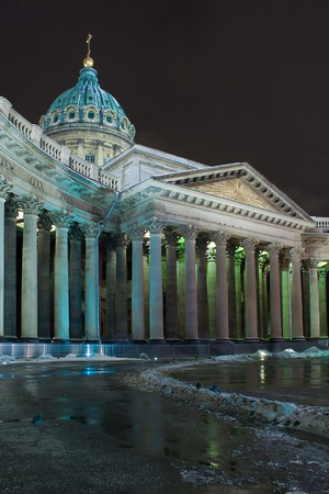 Night vertical view of Kazan Cathedral in St. Petersburg (Russia) photo