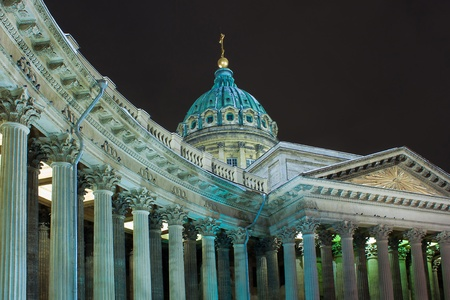 Night horizontal view of Kazan Cathedral in St. Petersburg (Russia) photo