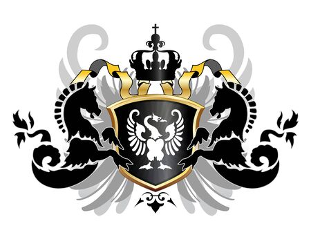 Vecor of arms with two sea fads,wings and white swan