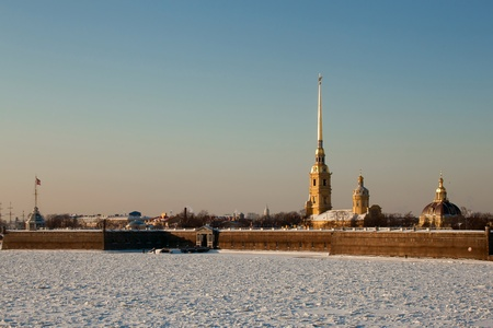 st  petersburg: The Peter and Paul Fortress in St. Petersburg Russia, winter Stock Photo