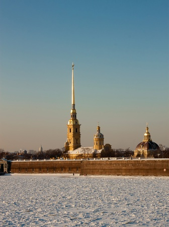The Peter and Paul Fortress in St. Petersburg Russia, winter photo