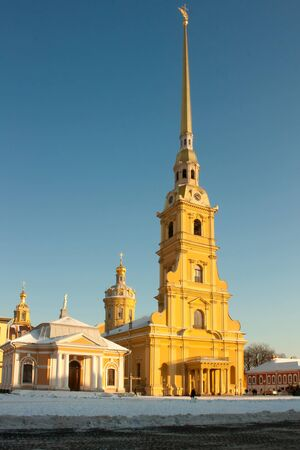 saint petersburg: The Peter and Paul Fortress in St. Petersburg, Russia, winter. Stock Photo