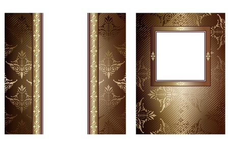2 chocolate vintage banners with decorative ornaments on white 版權商用圖片