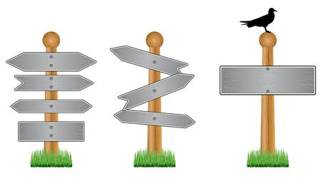 Vector image of metal crossroad signs on white Vector