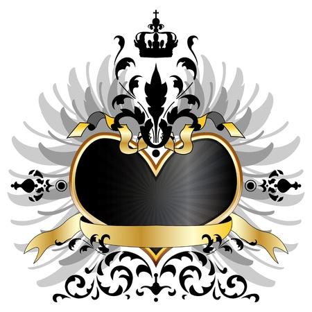 心臓、翼およびリボンの中世腕のベクトル