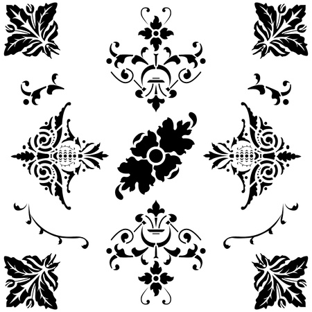 oldage: Vector of black medieval ornaments on white