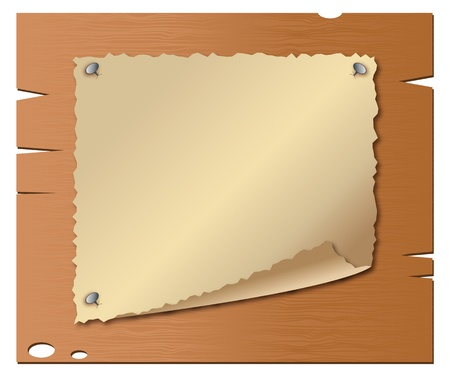 western wall: Vector of old paper on wooden boards Illustration