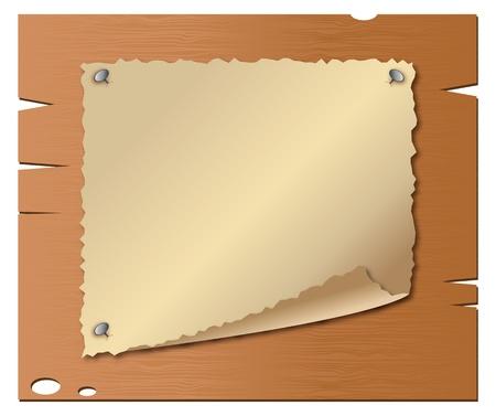 western border: Vector of old paper on wooden boards Illustration