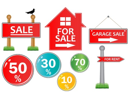 Vector of For sale signs on white Stock Vector - 12270123