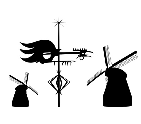 Vector of Wind vane cock and 2 windmills Vector