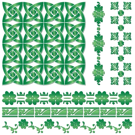 clover backdrop: Vector of ornaments for St. Patrick`s Day on white