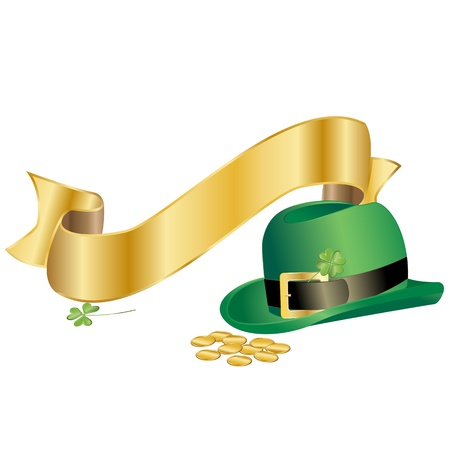 leprechauns hat: Vector of Leprechauns hat with golden ribbon Illustration