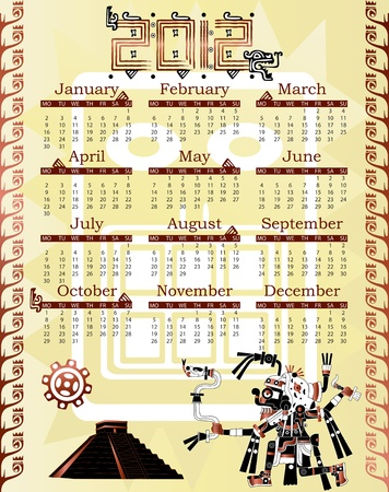 Vector of Calendar 2012 in mayan style with god Vector