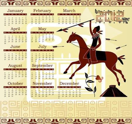 charro: Vector del calendario 2012 en estilo maya con el jinete