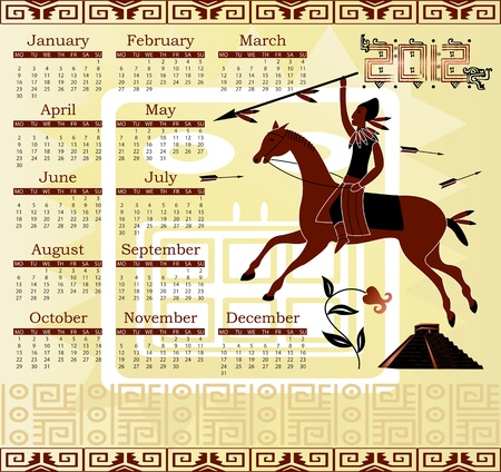 Vector of Calendar 2012 in mayan style with horseman Vector
