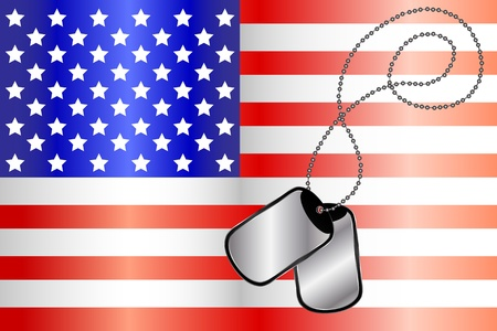 Vector of dog tags on the flag of America Vector