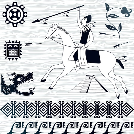 Vector image of ancient american patterns and horseman