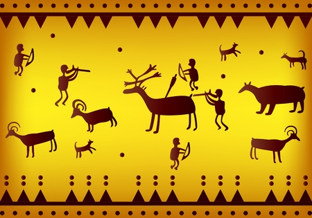 vector of primitive figures looks like cave painting Vector