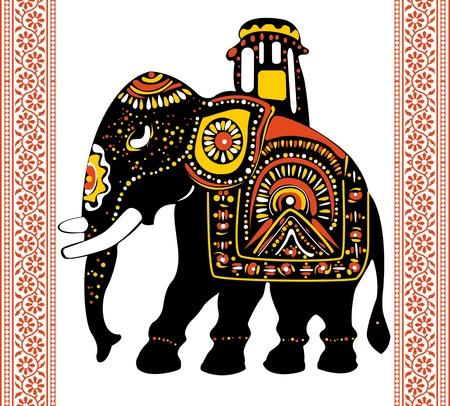 Vector van Feestelijke Indische olifant Stock Illustratie