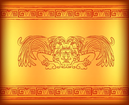 Background with mayan god with wings photo