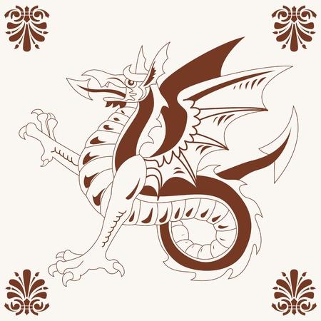 dragon fly: Vector of Vintage medieval dragon (Wyvern) drawing Illustration