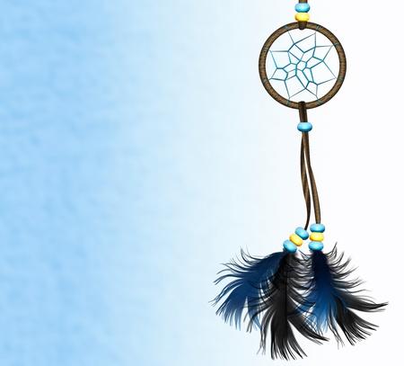atrapasueños: Imagen de un cazador de sueños americanos nativos sobre fondo azul
