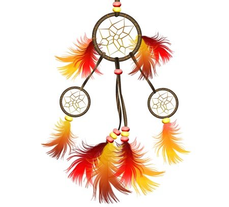 Image of big bright dreamcatcher on white photo